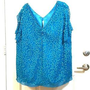 ROAMANS 30W Blue Green Sequin Silk Lined Blouse